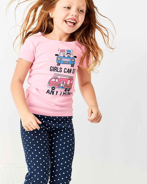 Pyjama 4 pièces en coton ajusté Girls Can Do Anything