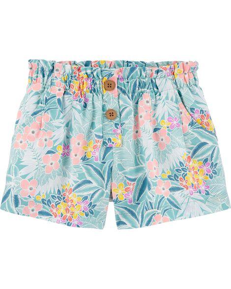Short en lin à fleurs tropicales