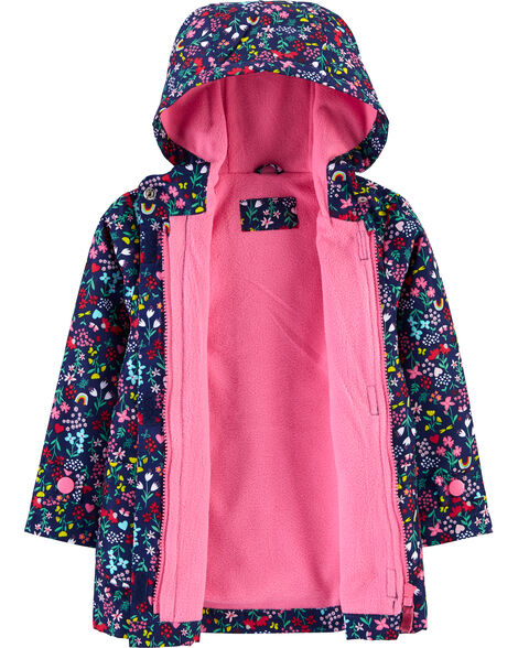 Fleece-Lined Floral Rain Jacket