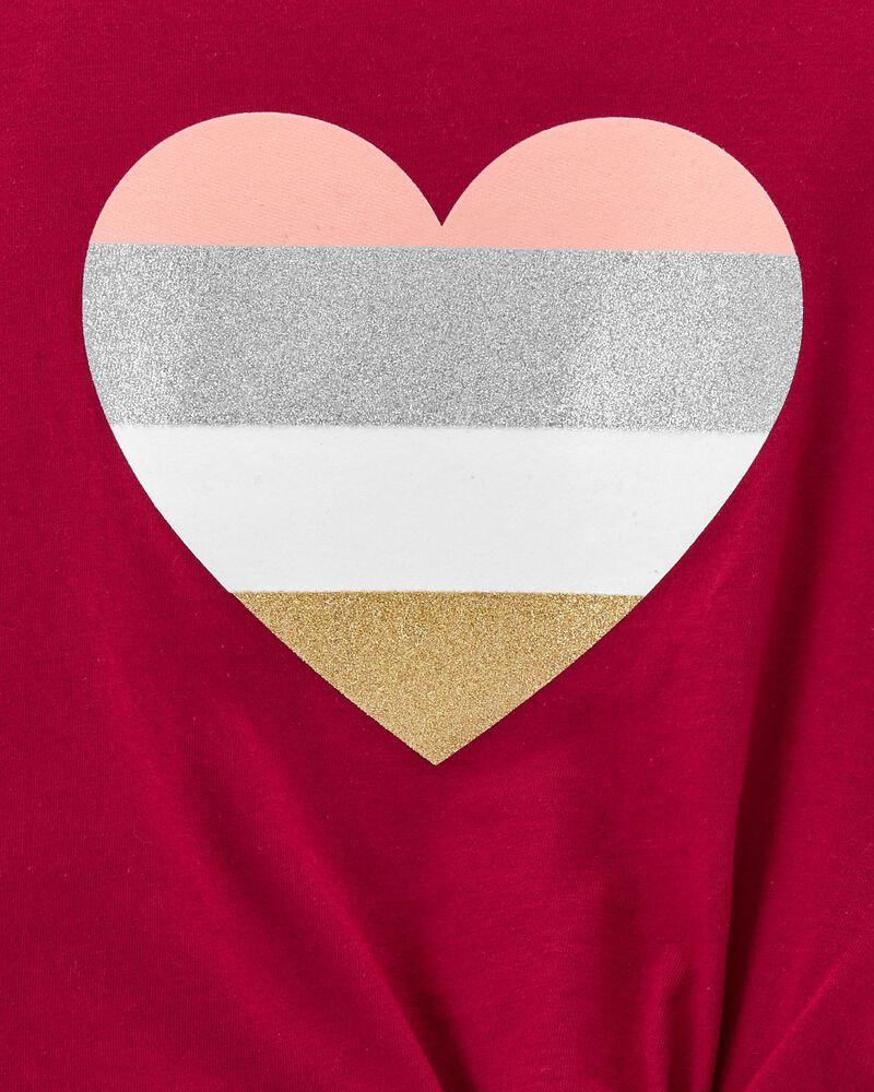 T-shirt en jersey à cœur scintillant et nœud devant , , hi-res