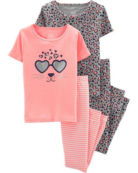 4-Piece Leopard Snug Fit Cotton PJs
