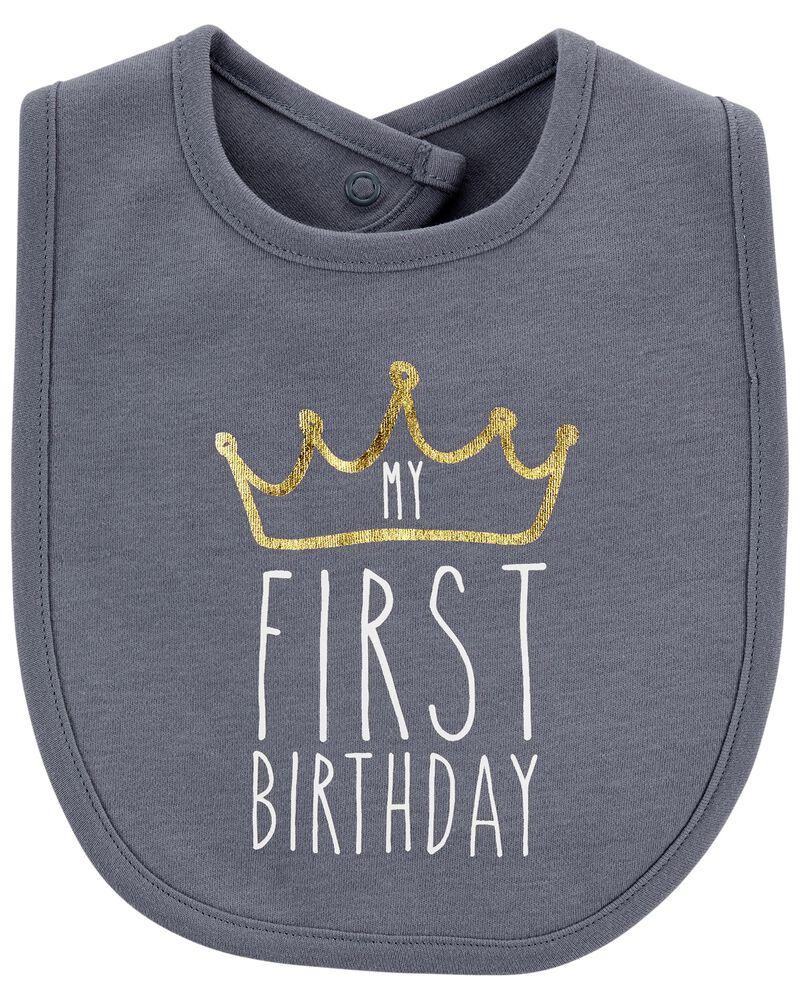 First Birthday Teething Bib, , hi-res