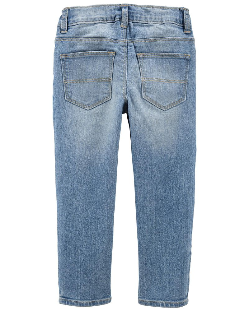 Rip & Repair Knit Denim Jeans — Slim Fit, , hi-res