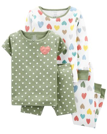 4-Piece Hearts 100% Snug Fit Cotton...