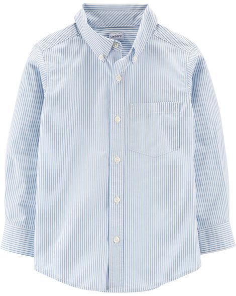 Striped Button-Front Poplin Shirt