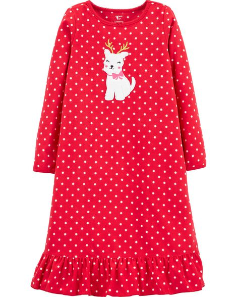 Reindeer Dog Fleece Nightgown