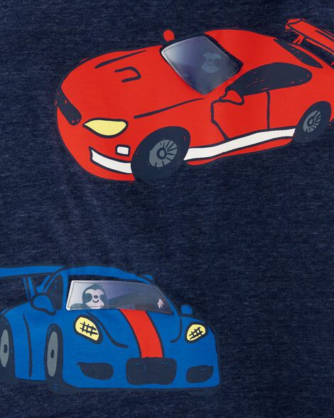 T-shirt chiné avec voiture de course et paresseux