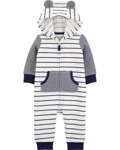 Striped Zip-Up Fleece Jumpsuit
