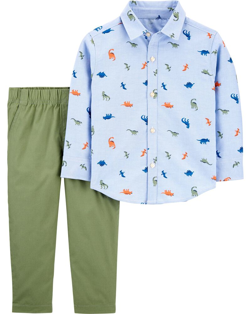 2-Piece Dinosaur Button-Front Shirt & Pant Set, , hi-res
