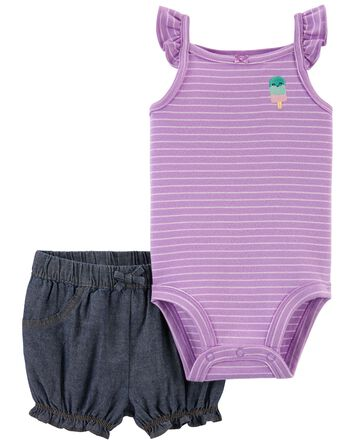 2-Piece Popsicle Bodysuit & Short S...