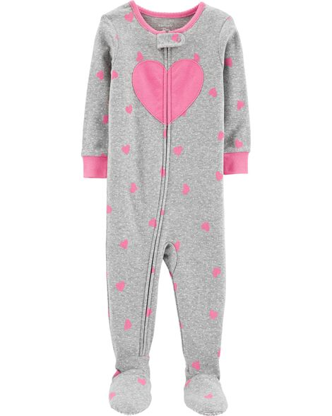 1-Piece Heart Snug Fit Cotton PJs