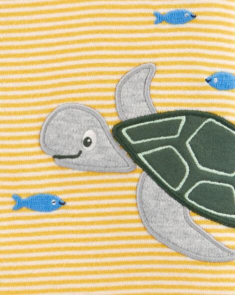 Barboteuse rayée à boutons-pression avec tortue