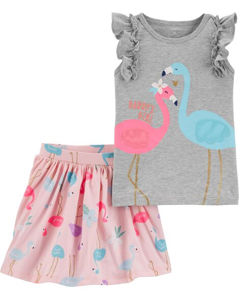 2-Piece Flamingo Flutter Tee & Skort Set