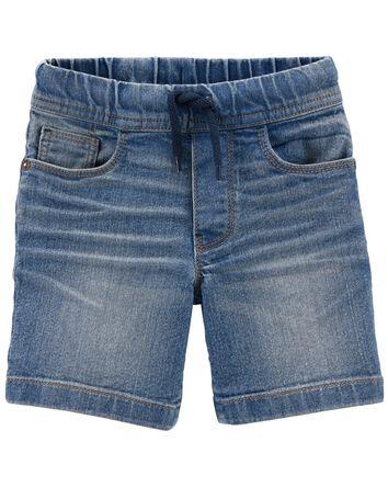 Pull-On Stretch Denim Shorts in Ind...