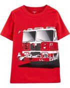 T-shirt à imprimé de camion d'incendie, , hi-res