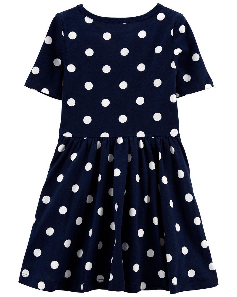 Polka Dot Jersey Dress, , hi-res