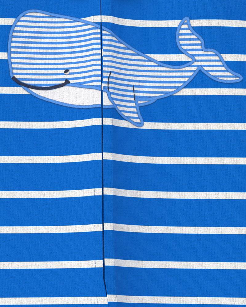 Grenouillère en coton pour dormir et jouer avec glissière 2 sens et motif de baleine, , hi-res