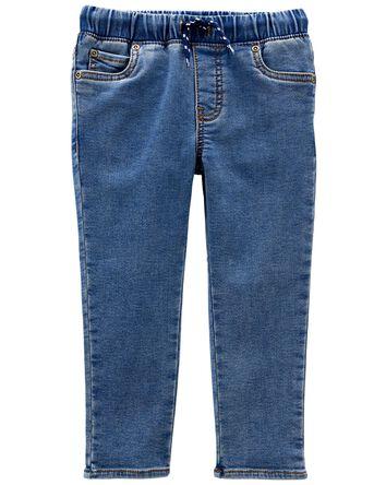 Pull-On Faux Denim Pants