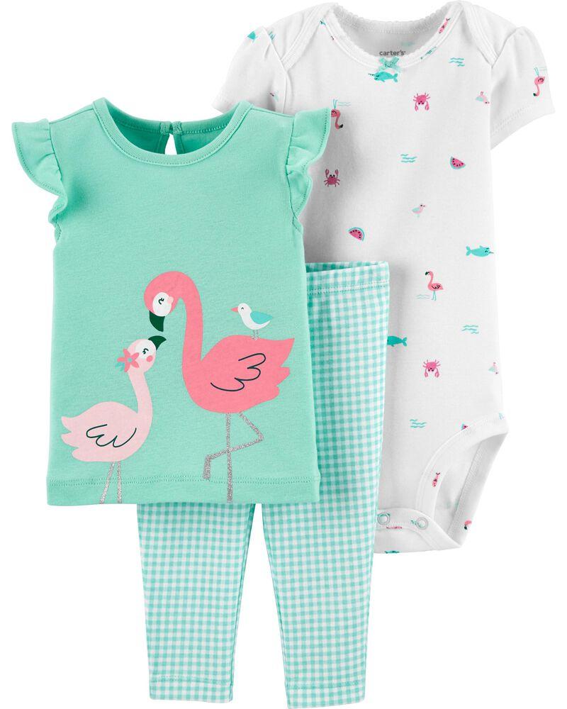 Ensemble 3 pièces t-shirt à flamant rose et short à motif vichy, , hi-res