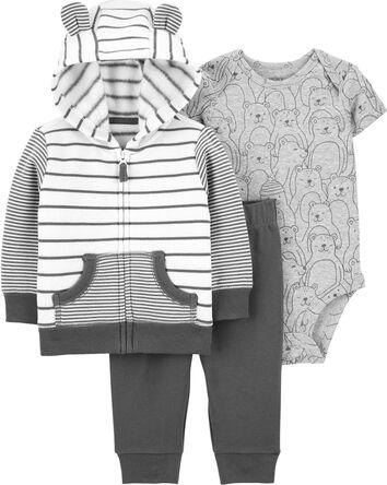 3-Piece Striped Cardigan Set