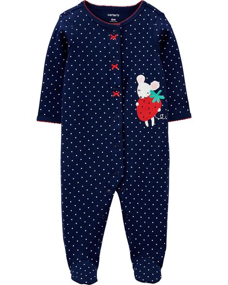 Mouse Snap-Up Cotton Sleep & Play