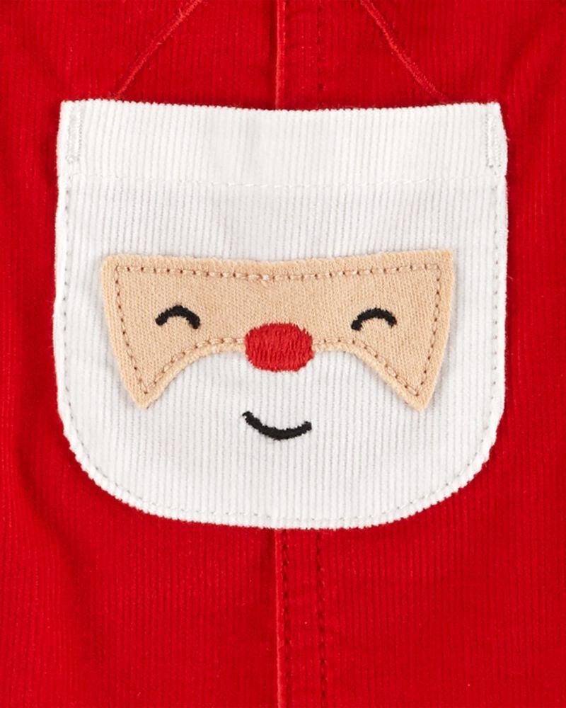 Ensemble 3 pièces t-shirt rayé et robe chasuble père Noël, , hi-res