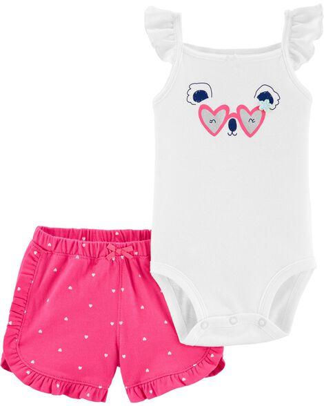 2-Piece Koala Bodysuit & Short Set