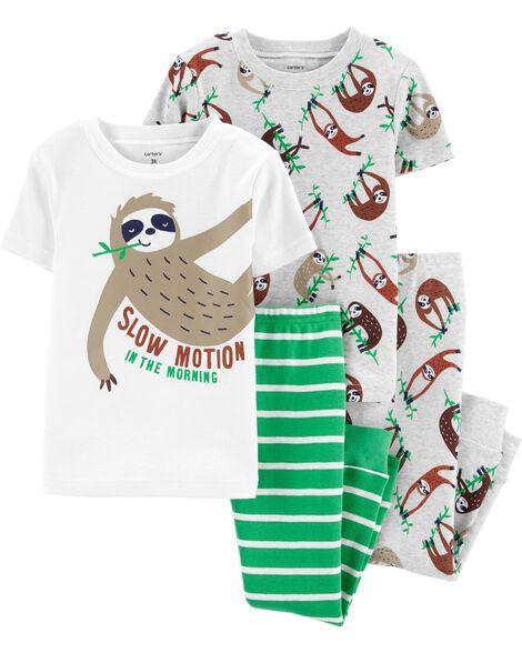 4-Piece Sloth Snug Fit Cotton PJs