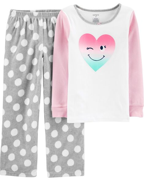 Pyjama 2 pièces en coton et molleton ajusté à motif de cœurs