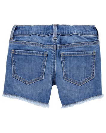 Short en denim extensible à délavag...