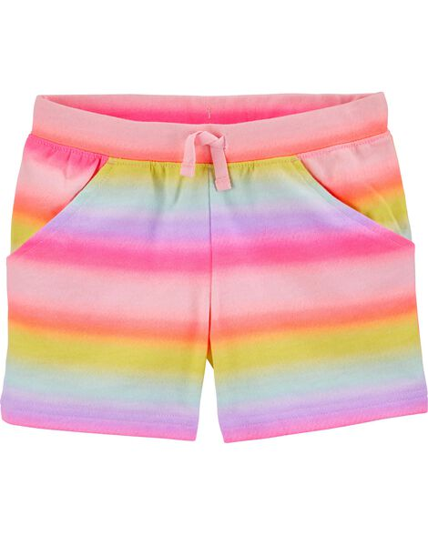 Gradient Rainbow Pull-On French Terry Shorts
