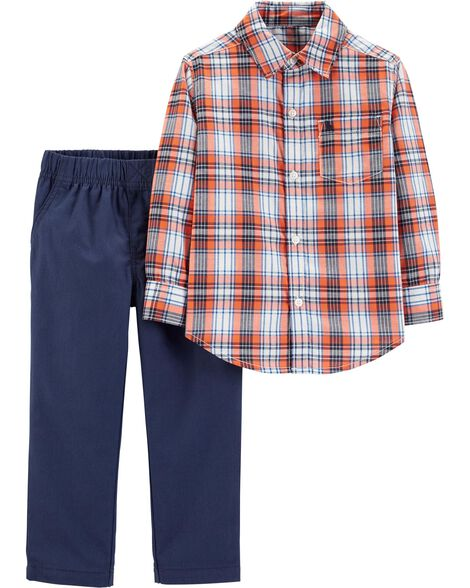 2-Piece Plaid Button-Front Shirt & Canvas Pull-On Pant