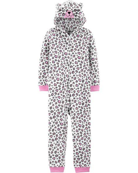 1-Piece Leopard Cat Hooded Fleece Footless PJs