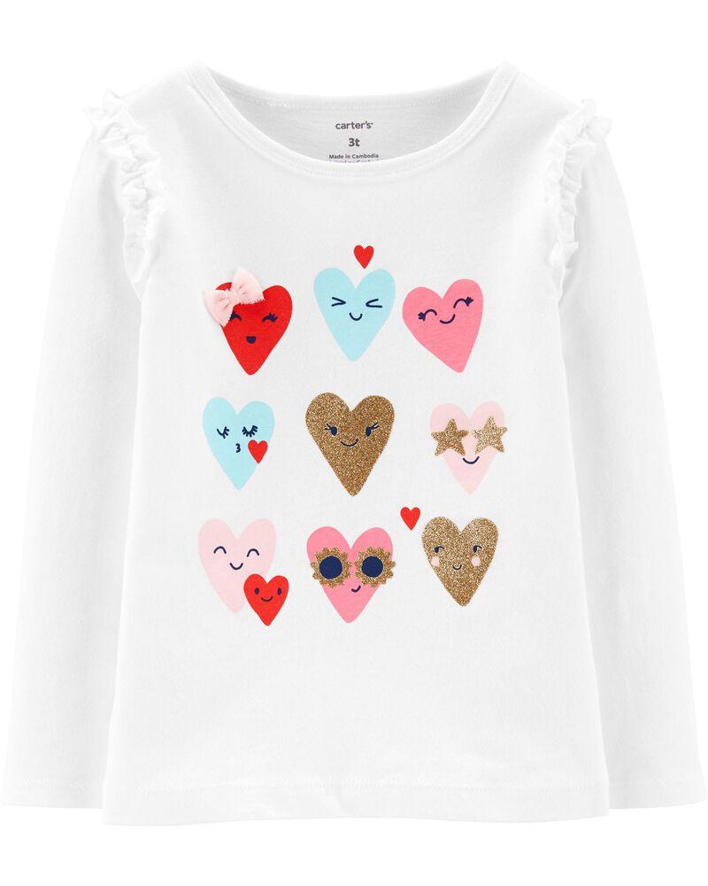T-shirt en jersey à cœur scintillant, , hi-res