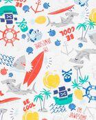 4-Piece Shark 100% Snug Fit Cotton PJs, , hi-res