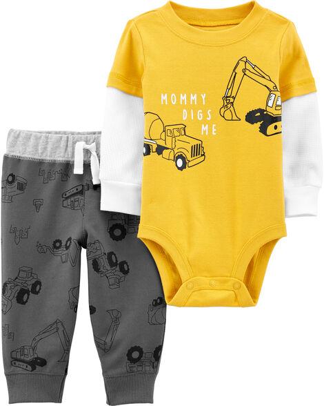 2-Piece Construction Bodysuit Pant Set