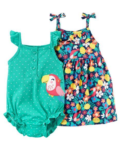 2-Piece Floral Dress & Toucan Romper Set