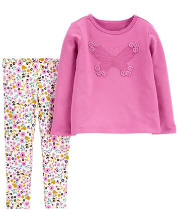 2-Pack Butterfly Top & Floral Leggi...
