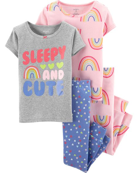 Pyjama 4 pièces en coton ajusté motif arc-en-ciel