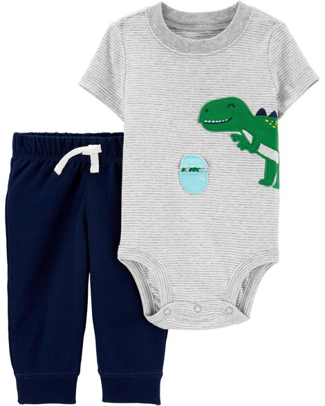 2-Piece Interactive Dinosaur Bodysuit Pant Set