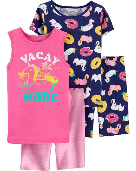 4-Piece Vacay Mode Snug Fit Cotton PJs