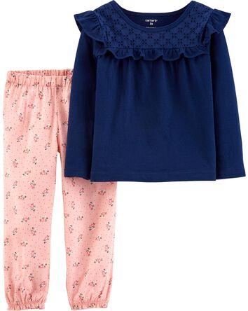 2-Piece Jersey Top & Floral Pant Se...