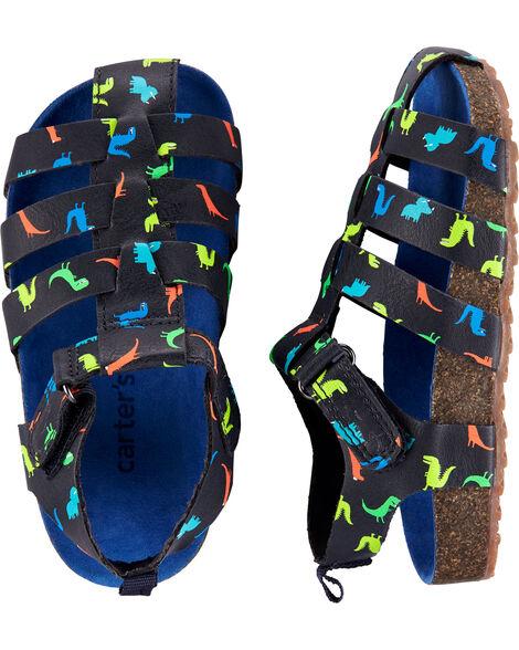 Sandales de pêcheur en liège avec dinosaure