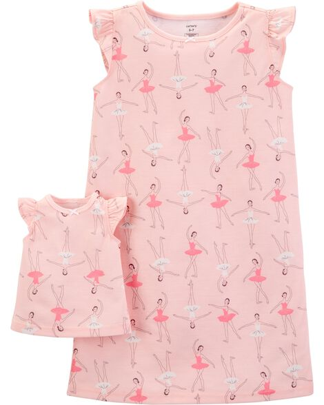 2-Pack Doll Ballerina Poly Nightgowns