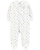 Polka Dot Zip-Up Fleece Sleep & Play, , hi-res