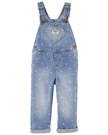 Heart Print Denim Overalls