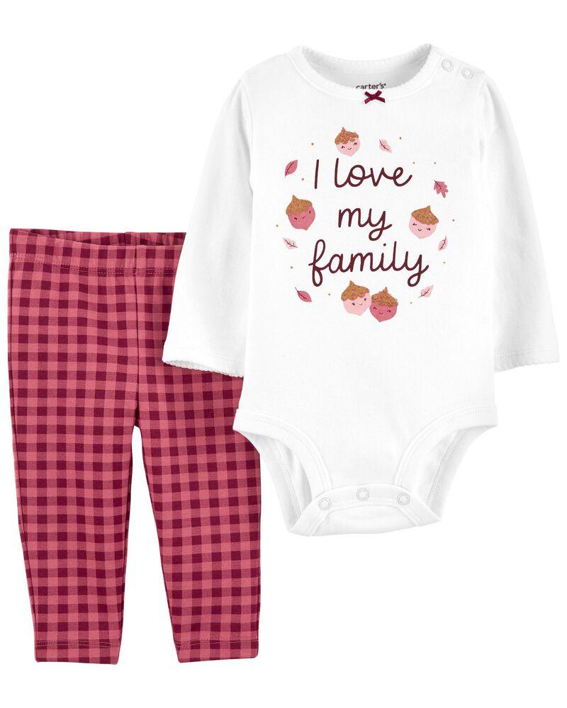 2-Piece I Love My Family Bodysuit Pant Set, , hi-res