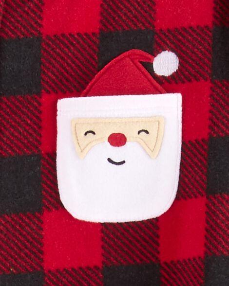1-Piece Christmas Buffalo Check Fleece Footie PJs