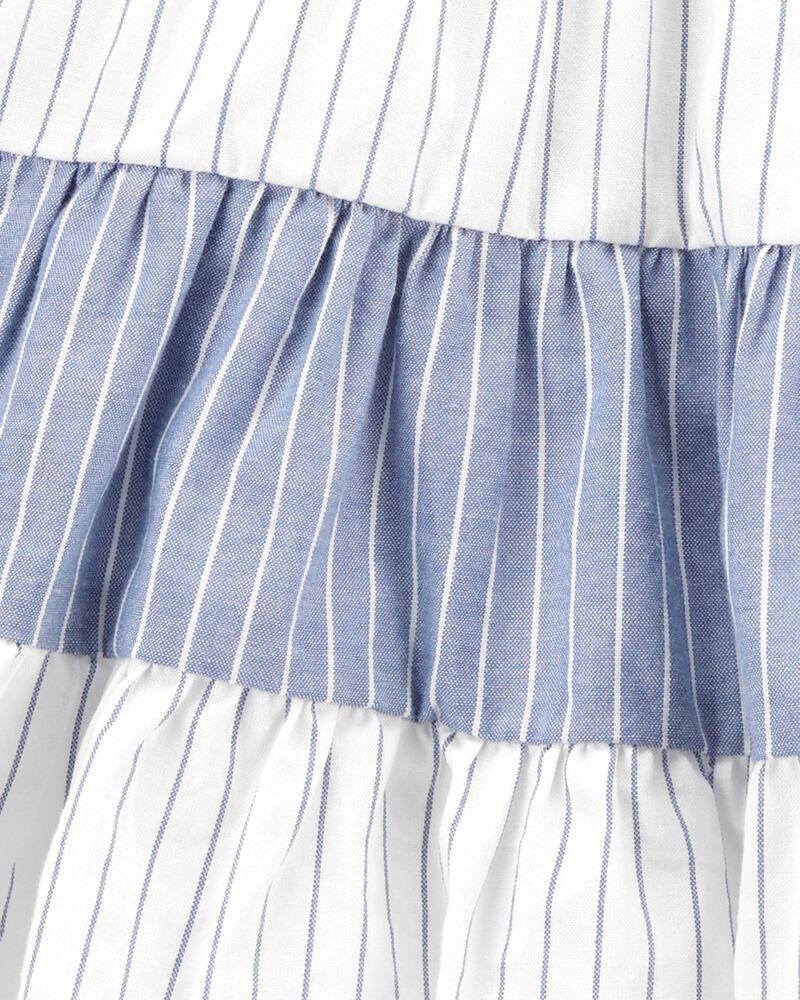 Robe chasuble en tricot de denim à étages, , hi-res