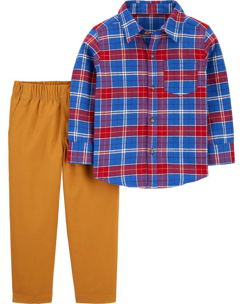 Ensemble 2 pièces chemise boutonnée à motif écossais et pantalon en toile , , hi-res